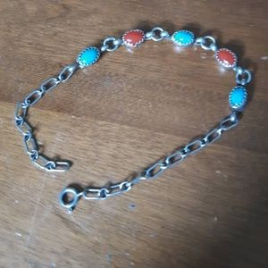 Jewelry - Vintage Turquoise Coral Sterling  Silver Bracelet